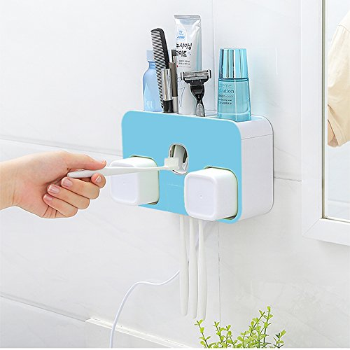 - Loyogames Toothbrush Holder UV Toothbrush Sanitizer Wall Mounted Automatic Toothpaste Squeezer Dispenser Cup Sterilizer with Two Cups for Bathroom,Blue