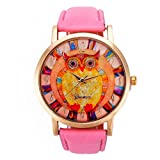 Owl Pattern,Baomabao Leather Band Analog Quartz Vogue Watch for Women Ladies Girls Gift_Pink