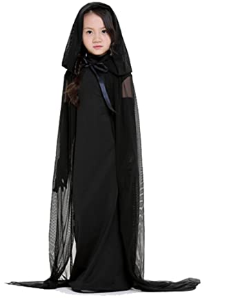 Black Ghost Halloween Witch Dress Hooded Cape Cloak Costume Outfit for Kids Children  sc 1 st  Amazon.com & Amazon.com: Black Ghost Halloween Witch Dress Hooded Cape Cloak ...