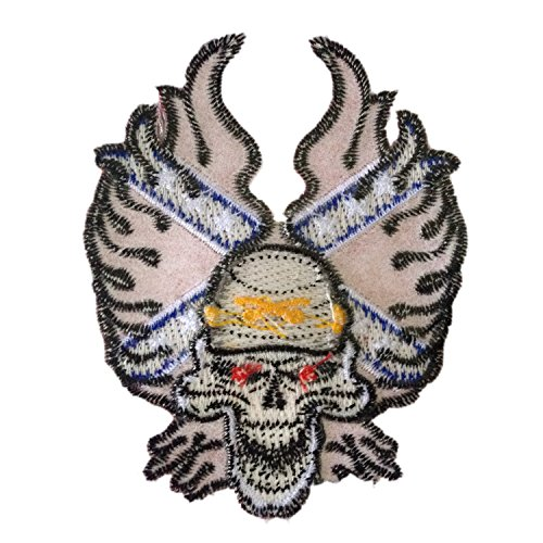 Skull Skeleton with Fire Flames American Iron on Patches Embroidered 2.7 X 3.4 Inches 1 Peice Per Order