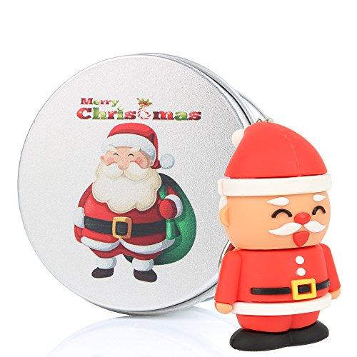 Christmas Santa 16G USB Flash Drive Memory Sticks Data Pen Drives Duo Storage Device Novelty Digital Cute Nice Gift Present for Computer PC iMac Kids Girls Boys her women School Students 16GB