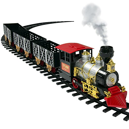 Classic Train Set For Kids With Real Smoke, Music, and Lights Battery Operated Railway Car Set