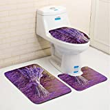 Bath Rug Mats, Moon mood 3-Pieces Bathroom Rugs and Mats Polyester Fiber Mat Non-slip Shower Mat Set Including Bath Cushion(75x45cm)/U-shaped Pedestal Mat(43x38cm)/Toilet Seat Cover Lid(41x36cm)