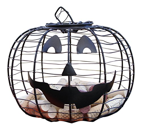 Halloween Jack-O-Lantern Black Wire 10-inch Wine Cork Holder
