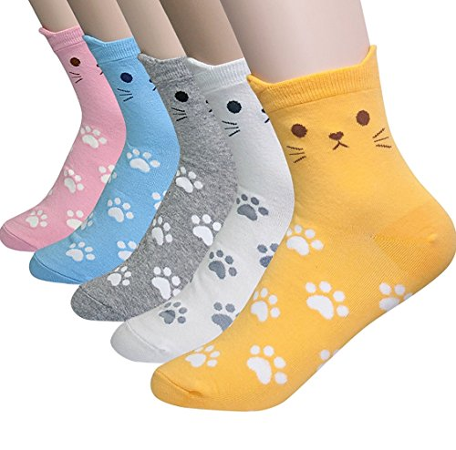 5 Pairs Cute Kitten Print Womens Teen Girls Unique Casual Cotton Socks Perfect Gifts (Cat Paws)
