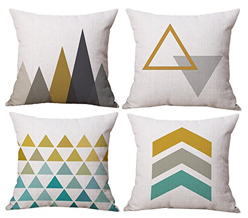 Modern Simple Geometric Style Cotton & Linen Burlap Square Throw Pillow Covers, 18 x 18 Inches, Pack of 4