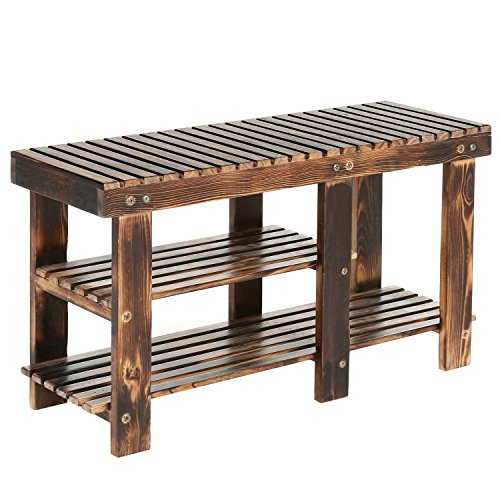 MyGift Freestanding 2-Tier Wood Shoe Rack, Country Rustic Wooden Entryway Storage Bench (Country Entryway)