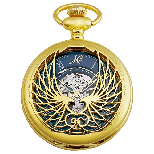 Gold Eagle Pocket Watch - KS Skeleton Eagle Wings Design Case Roman Numeral Markers Mechanical Pocket Watch KSP121