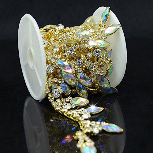 De.De. 1 Yard AB Resin Crystal Applique Rhinestone Bridal Trim Fashion Chain Fringe Embellishment Gold -