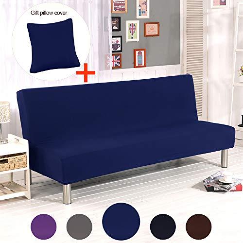 ele ELEOPTION Futon Cover Armless Sofa Slipcover Stretch Sofa Bed Cover Protector Elastic Spandex Modern Simple Mattress Folding Couch Sofa Shield Futon Cover (Dark Blue)