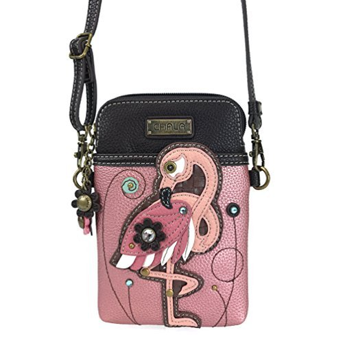 Chala Crossbody Cell Phone Purse-Women PU Leather Multicolor Handbag with Adjustable Strap - Flamingo Pink