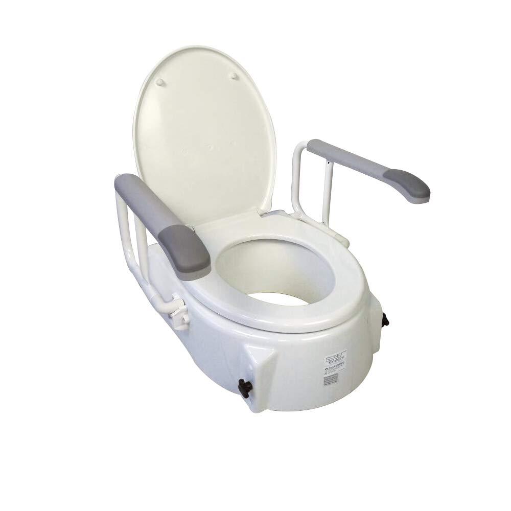 Rialzo per WC con coperchio 12,5 cm Peso massimo sopportato: 150 Kg Modello Muralla Mobiclinic Elevatore inclinabile e regolabile in altezza di 5-9 Braccioli ribaltabili