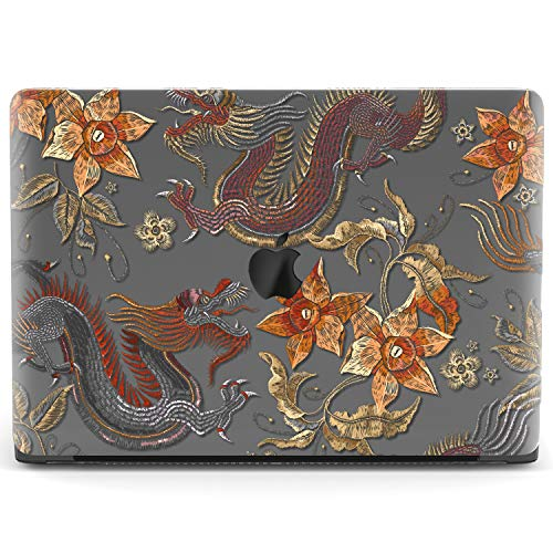 Mertak Hard Case for Apple MacBook Air 13 inch Mac Pro 15 Retina 12 11 2019 2018 2017 2016 2015 Boho Plastic Protective Chinese Print Flowers Cover Dragons Touch Bar Clear Traditional Embroidered