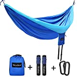 Image of Hammock,Wonbor Camping Double Hammock Lightweight Portable Parachute Nylon Hammock With Tree Ropes And Carabiners For Outdoor Backpack Travel Beach Yard Hanging Bed Sleeping Swing - Blue