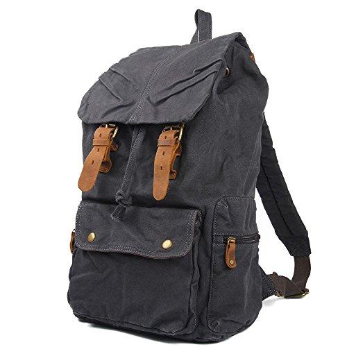 Los hombres y las mujeres bolsa de hombro mochila estudiante bolsa de lona ocio bolsa de viaje, dark gray dark gray
