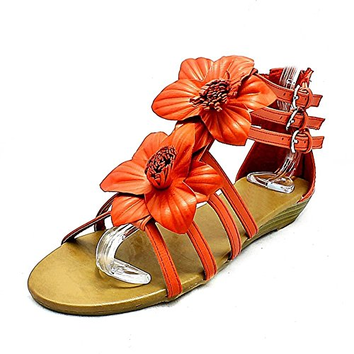 Delanteros Flor roja sandalias de cuña baja