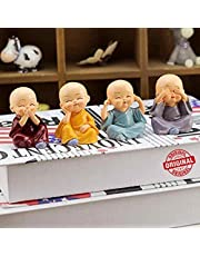 TIED RIBBONS Set of 4 Buddha Monk Statues Miniature Figurines Showpiece for Wall Shelf Table Desktop Car Dashboard Decoration Home Office Decor (Multi Color)