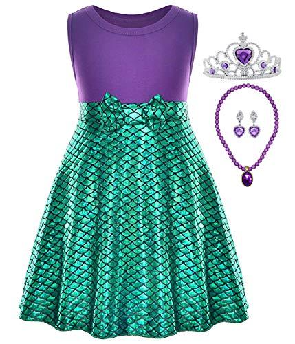 Little Girl Mermaid Dress Snow White Belle Rapunzel Cinderella Elena Costume (4-5 Years, Mermaid with Accessories)]()