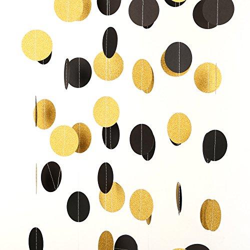 MOWO Glitter Paper Garland Circle Dots Hanging Decor 2'' in Diameter 20-feet in Total(gold glitter,black,3pc)]()