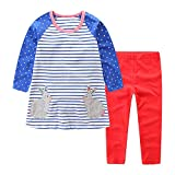Toddler Baby Girls Clothing Set Cute Print Long Sleeve Dress and Pants 2pcs Outfits Set