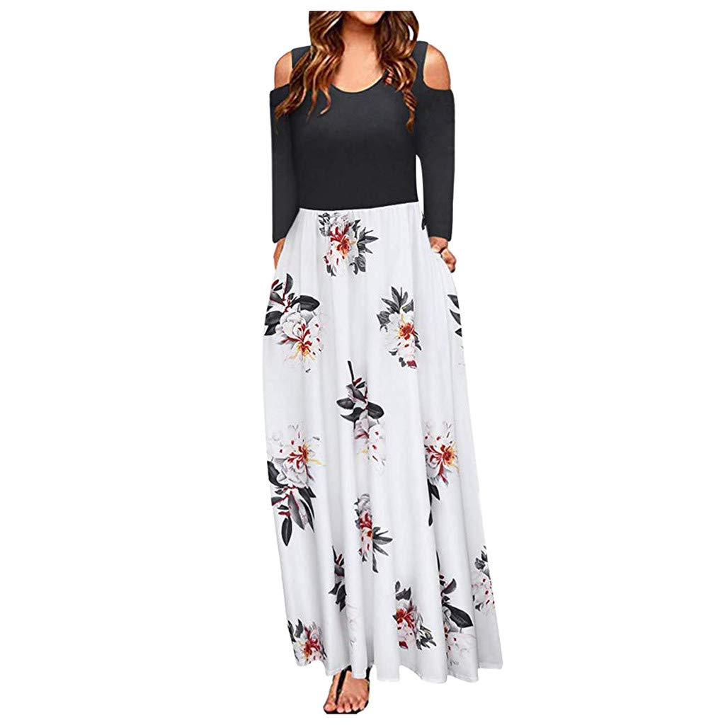 HHoo88 Womens Long Sleeve Cold Shoulder Swing Maxi Dress Floral Print Elegant Long Dress with Pocket Casual Prom Dress