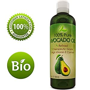 Avocado Oil For Hair Skin Nails Cold Pressed Antioxidant Nutrient Rich Oil Great as Massage Oil Anti-Aging Anti-Wrinkle Skin Care Shiny Hair With Vitamins A K E Healthy Fatty Acids for Women and Men