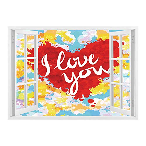 (SCOCICI Wall Mural, Removable Sticker, Home Décor/I Love You,Brushstroke Style Valentines Celebration Message My Other Half Celebration Image,Multicolor/Wall Sticker Mural)