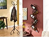 Southern Enterprises 3-Hooks Hall Tree and 5-Bottle Wall-Mounted Wine Rack Bundle Set