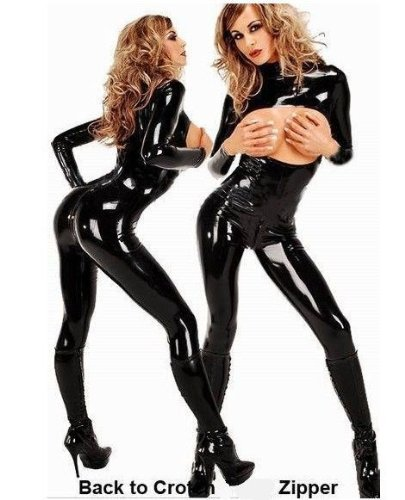 Amour- Sexy Gothic Punk PVC-like Wetlook Black Open Bust Catsuit Jumpsuit Playsuit