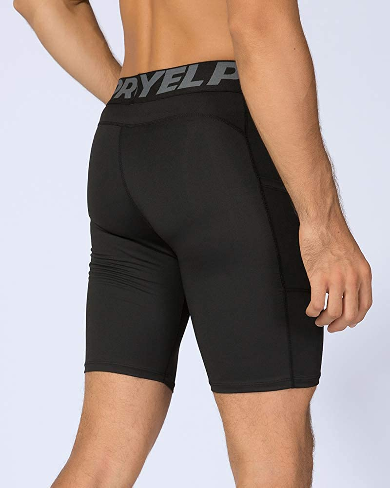 Compression Shorts Mens Gym Running Tights Base Layer Breathable Fitness Training Workout Shorts with Pocket