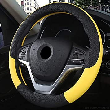 MeterMall Leather Universal Car Steering-wheel Cover 37CM-38CM Car-styling Sport Auto Steering Wheel Covers Anti-Slip yellow 38cm