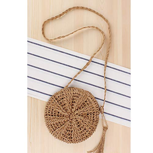 Teeya Straw Crossbody Bag Women Weave Shoulder Bag Round Summer Beach Purse and Handbags, Small Brown, Medium by Teeya (Image #4)