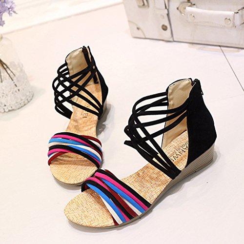 Scothen Zapatos las sandalias de las mujeres correa del tobillo romana Trenzado T-Correa Gladiador correa de los planos clip sandalias de punta zapatillas de playa del flip-flop de las mujeres Negro