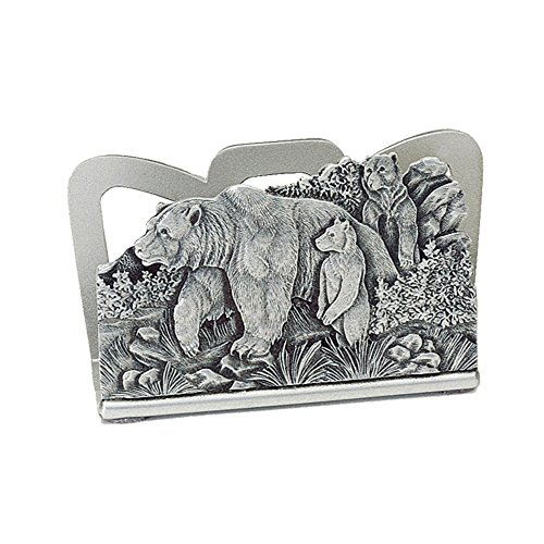 Grizzly Bear Business Card Holder Pewter, 3 Grizzlies