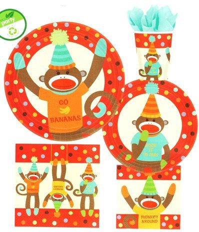 8 pc Sock Monkey Birthday Party Paper 9 inch Luncheon Plates