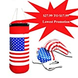 Kids Children's Boxing Punching Bag Sandbags Set with Gloves of US Flag, Special Lowest Promotions ,US Store