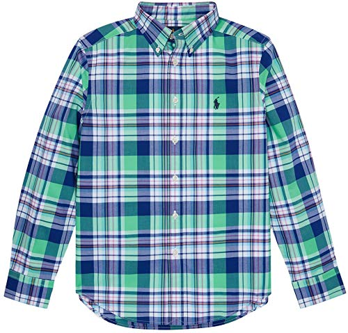 Polo Ralph Lauren Boys Plaid Cotton Poplin Button Down Shirt (M, GreenBlueMulti) Boys Ralph Lauren Button