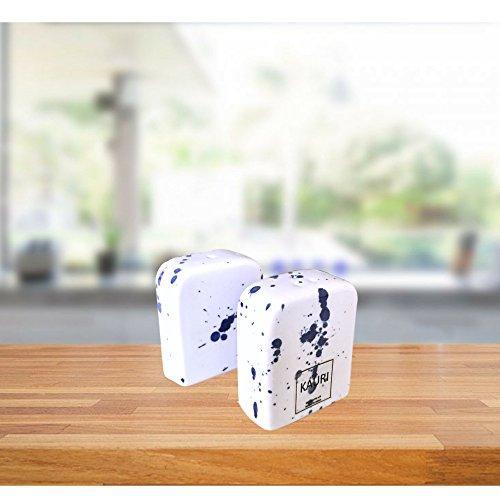 Kauri Ceramic Salt Shaker Set - White Splatter Salt & Pepper Shakers for Cooking and Kitchen Decor by Kauri (Image #2)