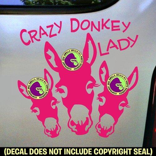 CRAZY DONKEY LADY Burro Love Decal Vinyl Bumper Sticker Laptop Window Car Trailer Sign Wall PINK