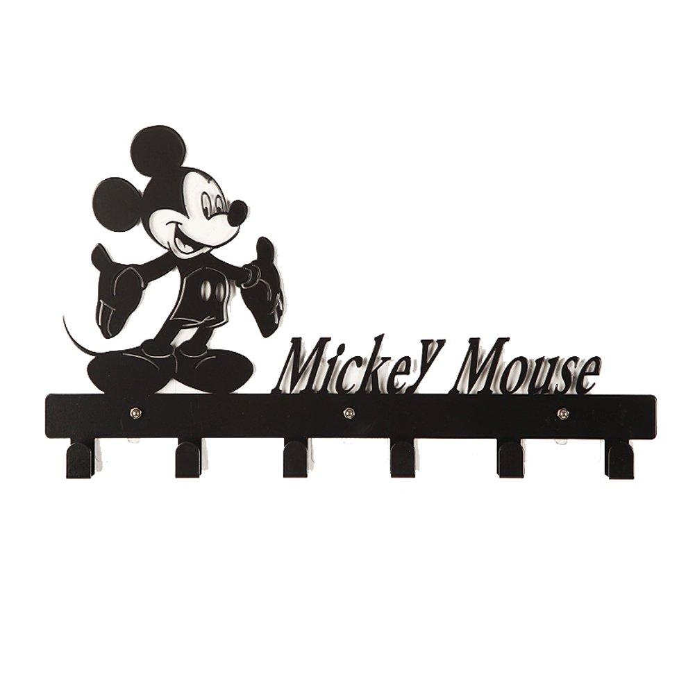 YOURNELO Cute Ironwork Cartoon Characters Animals Art Wall Mounted Decorative Coat Rack Hooks (Mickey Mouse 3 Black)