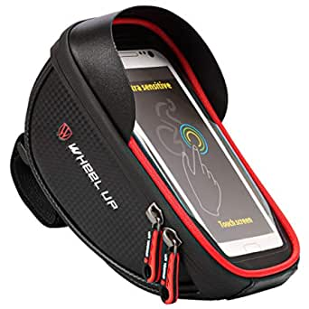 Emoly-r1 Bike Phone Mount Bags - Premium Bicycle Front Frame Bag, Waterproof Bike Pouch Bag with Headphone Hole for Smartphone Below 6 inch - Red