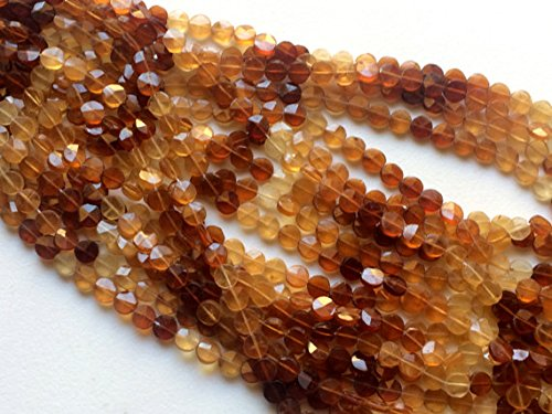 JP_Beads 1 Strand Natural Hessonite Garnet Coins, Hessonite Garnet Star Faceted Coin Beads, Natural Hessonite Necklace, 7mm, 13 inch