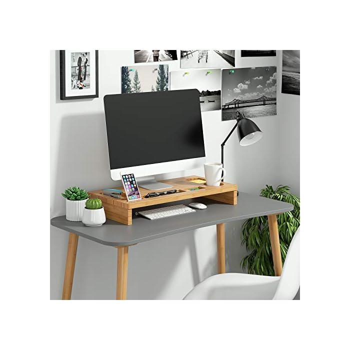 51QI3ZsmLNL Material de bambú natural - Está fabricado de bambú natural, es sólido y duradero, fácil de limpiar. Gracias al material de bambú, dispone de la prolongada vida útil del producto, la buena estabilidad y calidad. La altura es 8.5 cm, es perfecto para los ojos para ver la pantalla Almacenamiento perfecto - En la bandeja hay 7 diferentes compartimientos para guardar las pequeñas cosas como teléfono, taza, grapadora, bolígrafos, etc.