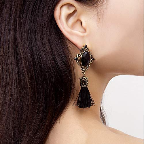 (ocijf179 Bohemian Round Earrings, Retro Oval Faux Gemstone Tassel Long Dangle Women Statement Earrings Jewelry Black)