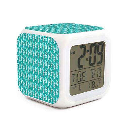 DHBVNMQHHT Alarm Clock Wake Up Bedroom with Data and Temperature Display (Changable Color) Size L8cm x W8cm xH8cm Statue of Liberty New York