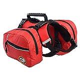 Dog Backpack Hiking Gear 2 in 1 Detachable Saddle Bag Hound Rucksack for Travel Camping Hiking Medium Large Breeds Red (M)