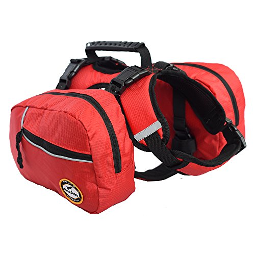 Dog Backpack Bagpacks Pets Harness Reflective Safety Adjustable Saddlebag Outdoor Hiking Travel Accessories with 2 Removable Packs for Large Dog Carry Products Waterproof Red