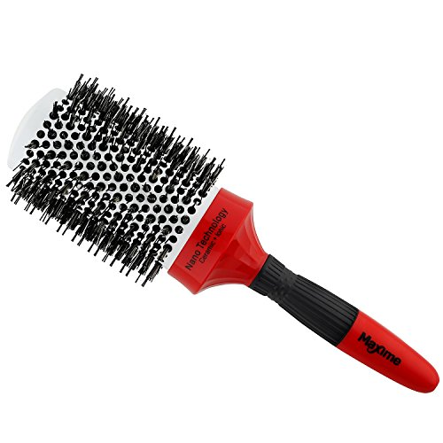 Round Thermal (MAXIME Ceramic New Nano Thermal Brush with Ionic Round Barrel and Boar Bristle 2 Inch, for Hair Drying, Styling, Curling and More that Increases Volume, Shiny and Beauty on Your Hairstyle)