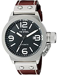 Men's CS25 Stainless Steel Watch with Brown Leather Band