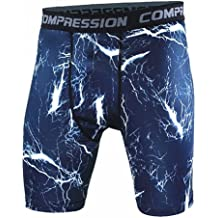 Kudex Men's Compression Shorts Wear Under Base Layer Camo Pants Cool Dry Sports Tights